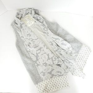 Anthro Sat Sun Terry Cloth Duster Floral Gray Whit